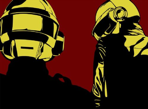 DAFT PUNK - Red One canvas print - self adhesive poster - photo print